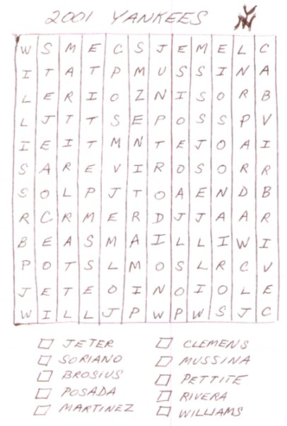 2001 Yankees Word Search