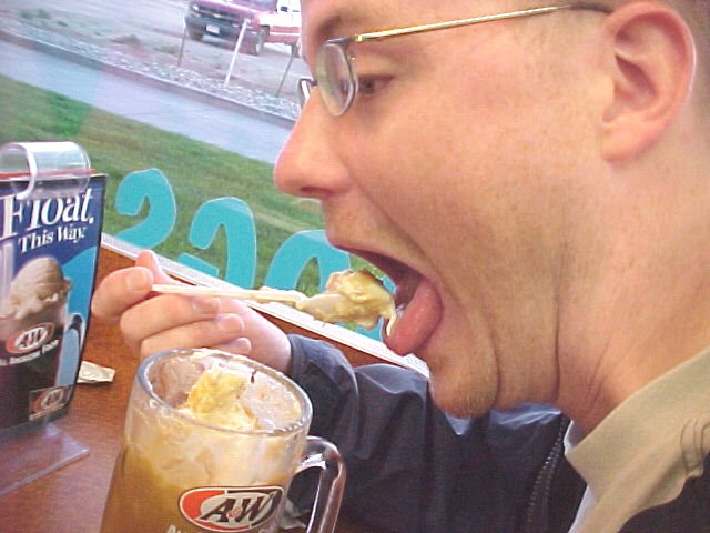 And there's Jesse working on his root beer float! Oh!